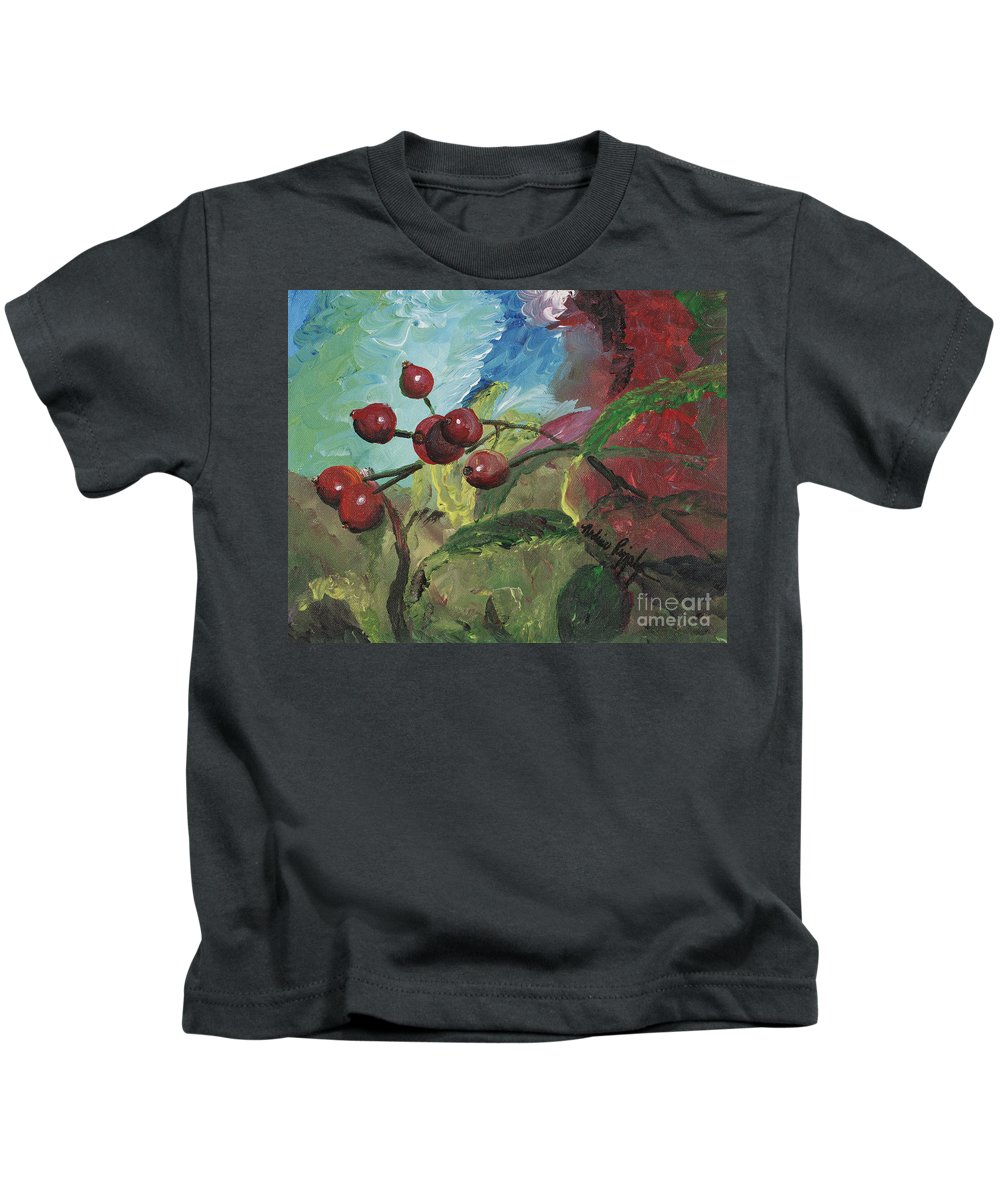 Berries Kids T-Shirt featuring the painting Winter Berries by Nadine Rippelmeyer