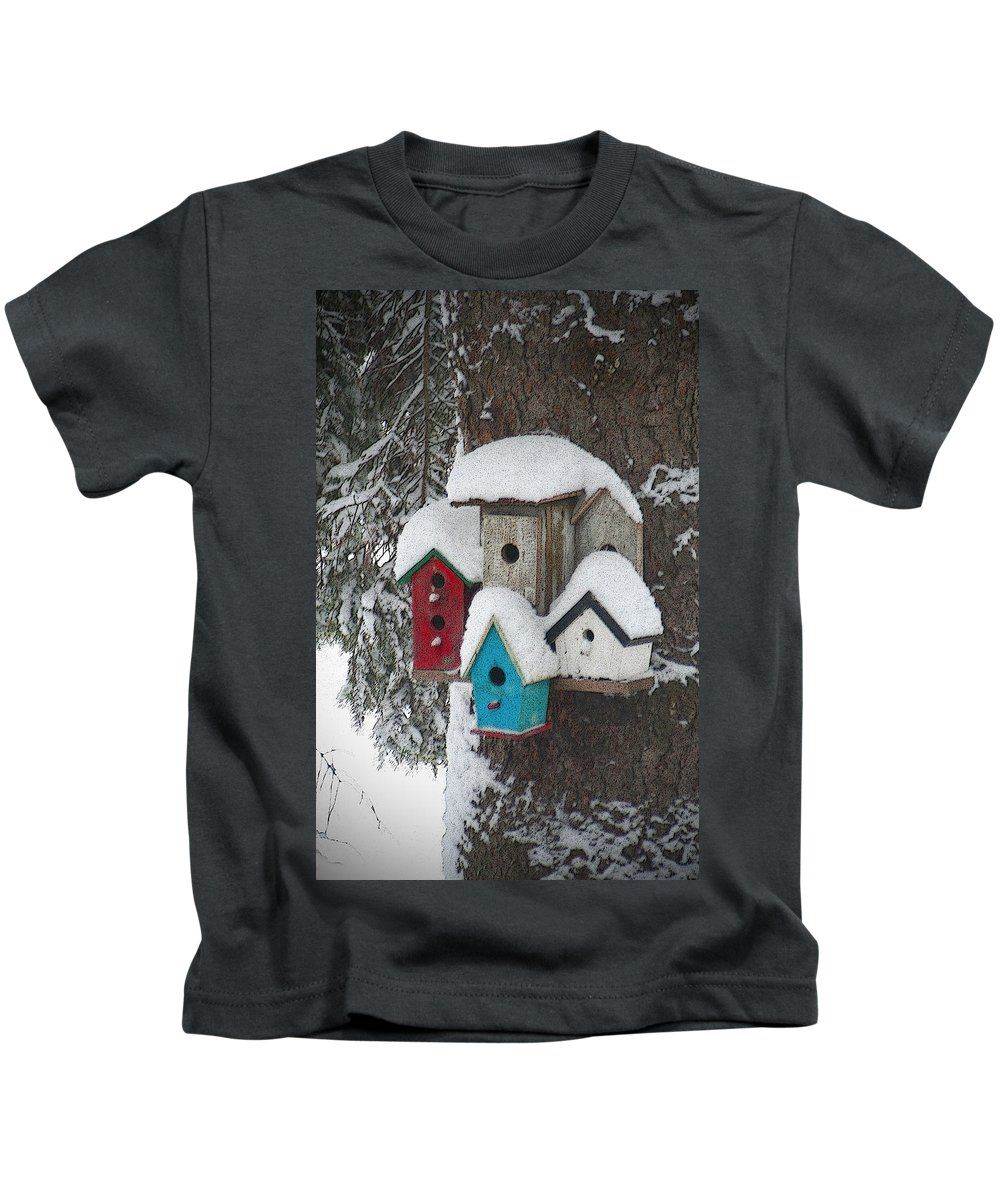 Winter Kids T-Shirt featuring the photograph Winter Birdhouses by Tim Nyberg