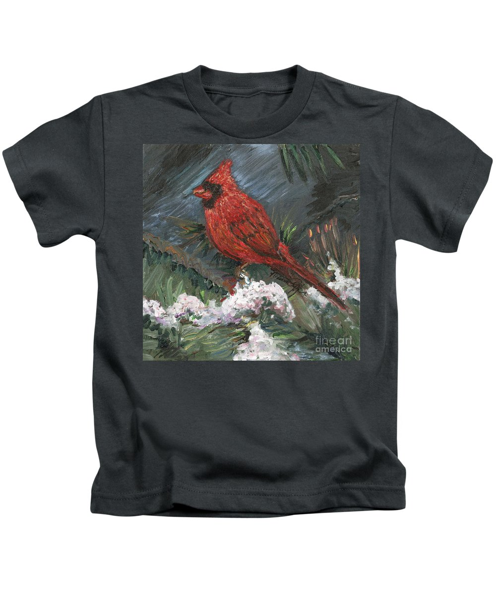 Bird Kids T-Shirt featuring the painting Winter Cardinal by Nadine Rippelmeyer