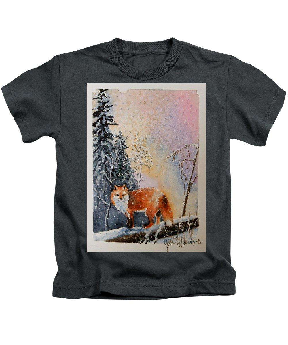 Fox Kids T-Shirt featuring the painting Winter Fox by Mona Davis