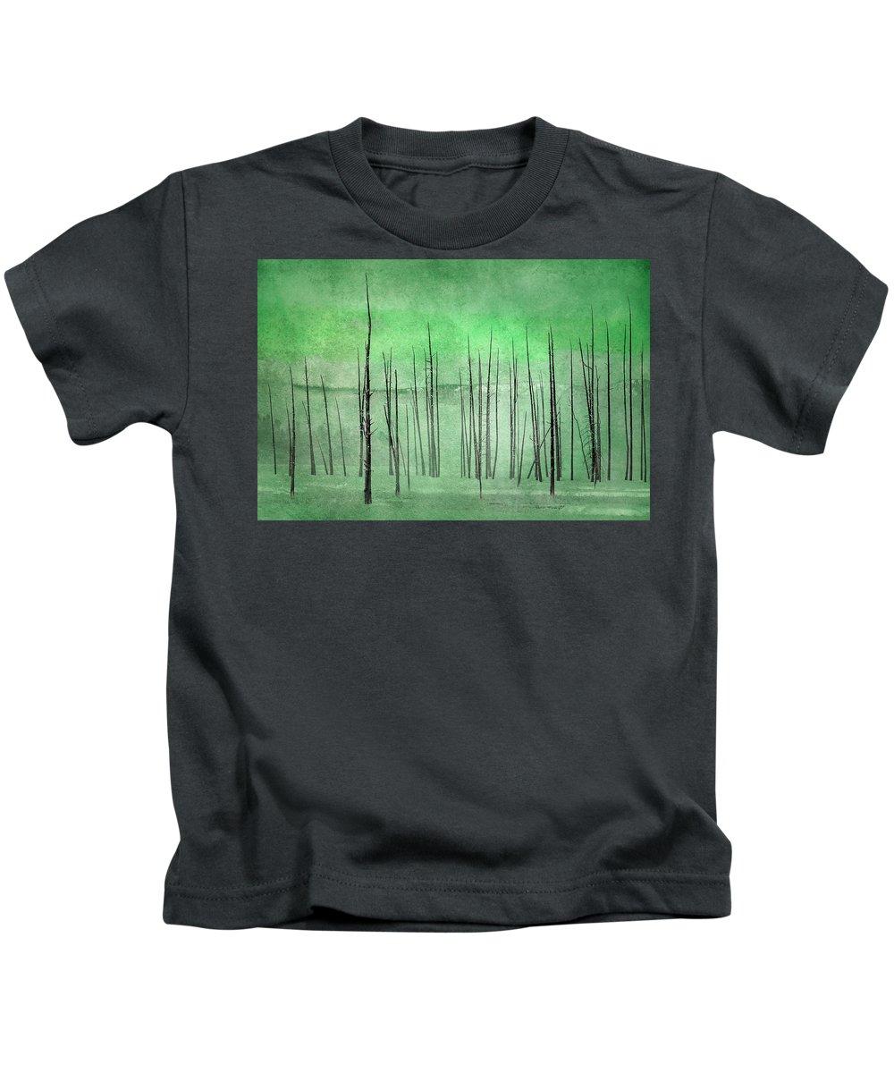 Yellowstone Kids T-Shirt featuring the photograph Winter Green 7913green by Karen Celella
