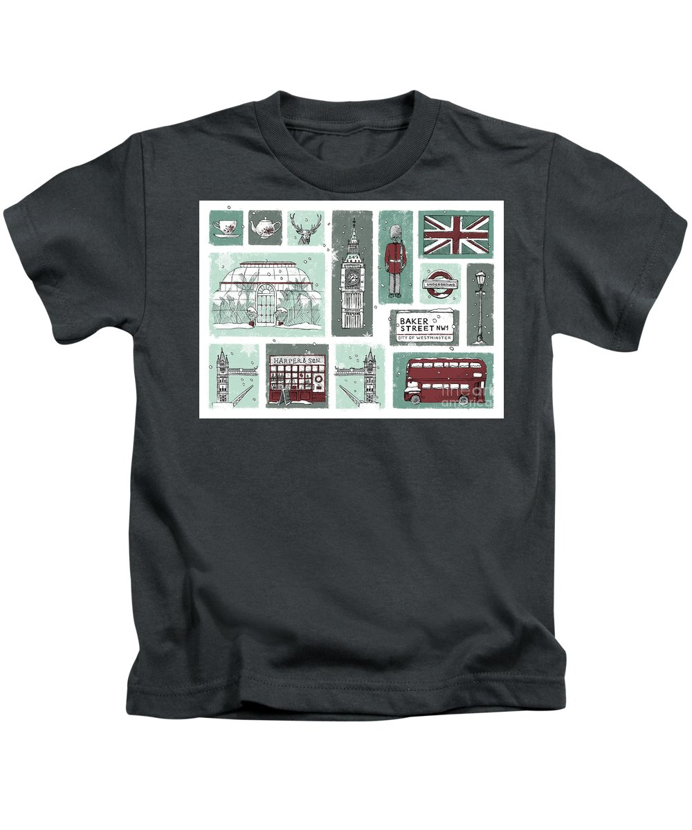 London Kids T-Shirt featuring the digital art Winter In London by Nazli Oluz