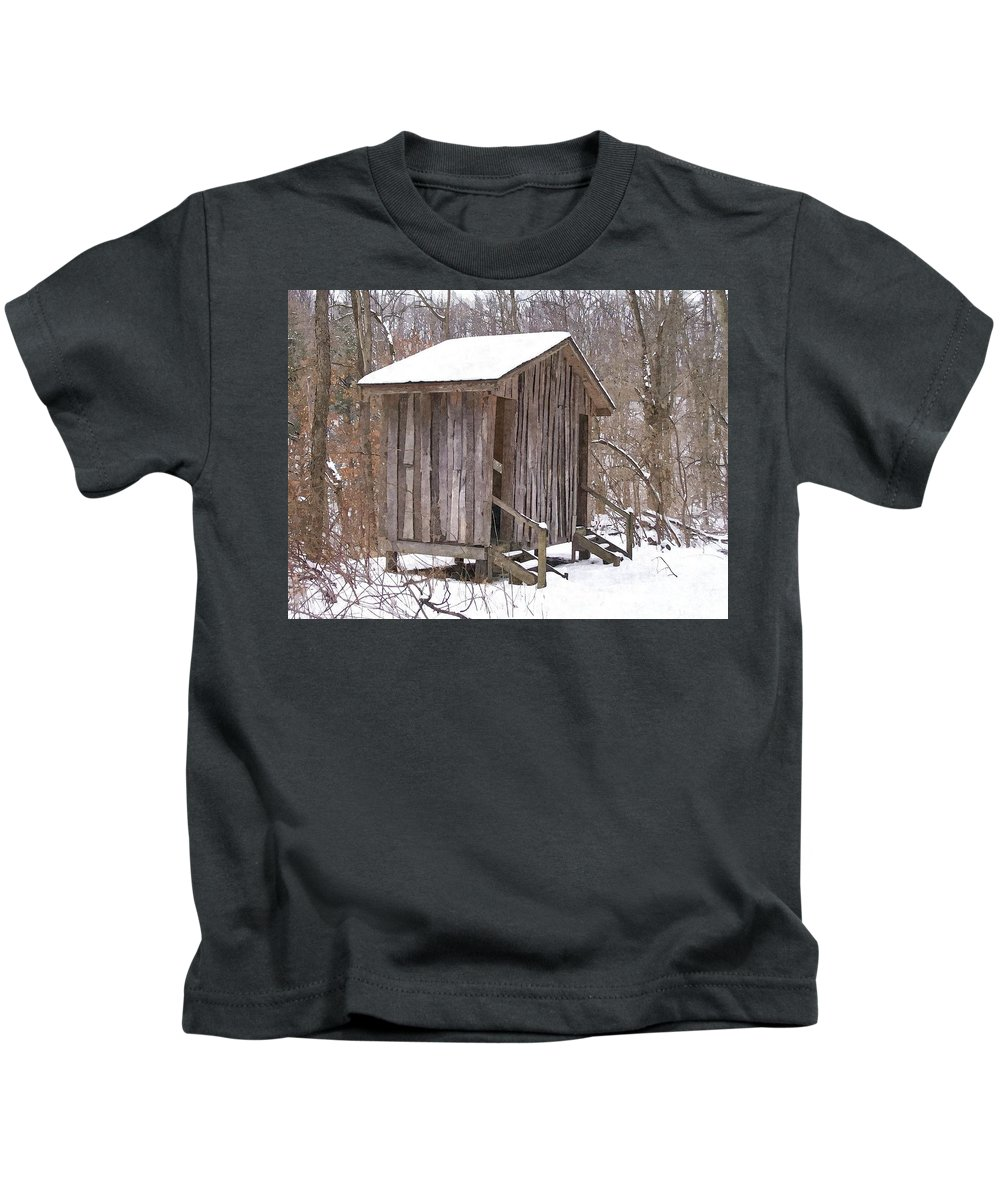 Cabin Kids T-Shirt featuring the photograph Winter Lookout In Oil by Sara Raber