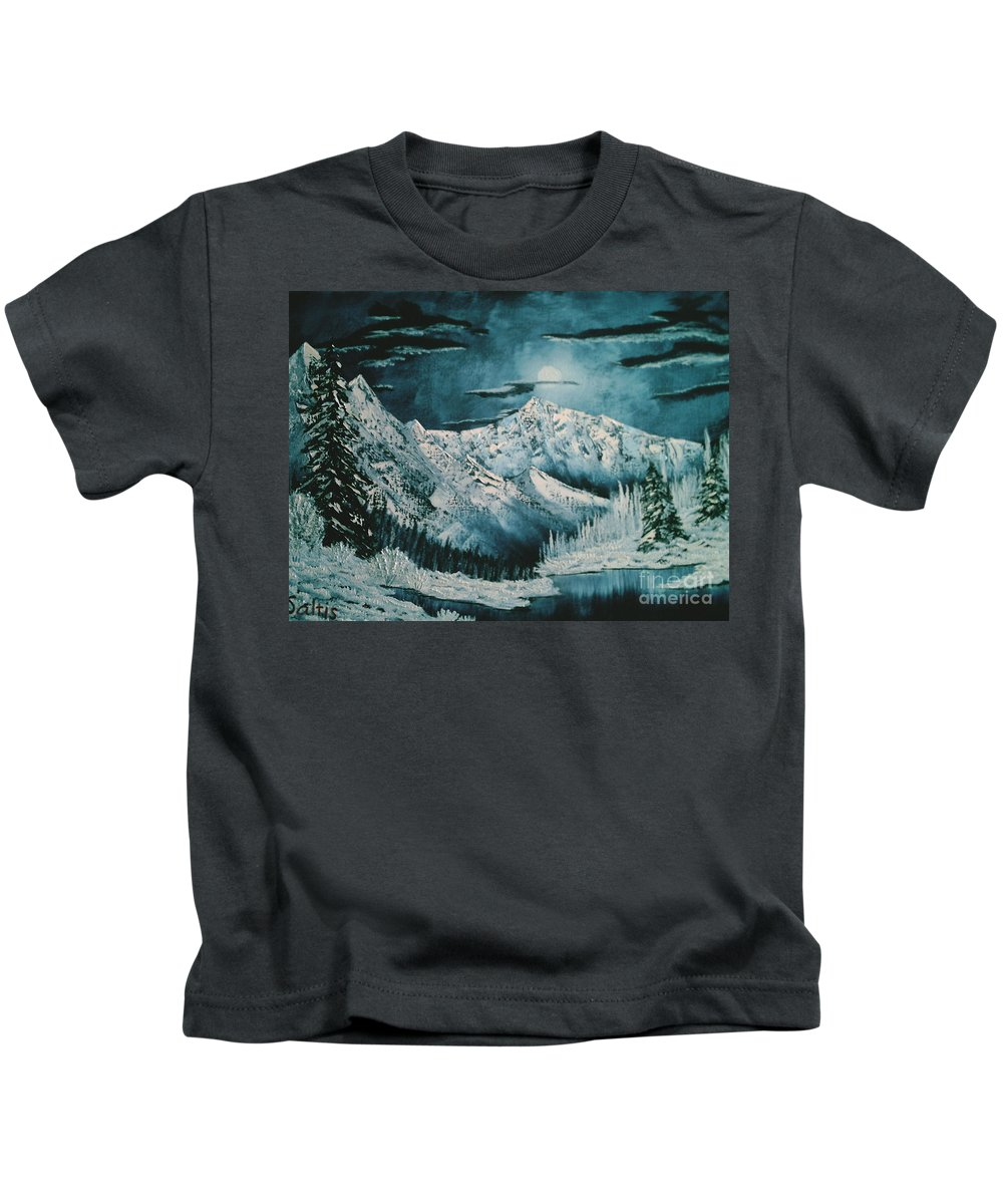 Winter Landscape Kids T-Shirt featuring the painting Winter Moon 2 by Jim Saltis