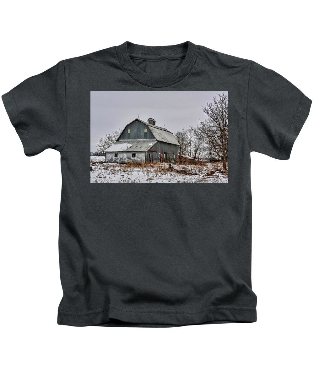 Barn Kids T-Shirt featuring the photograph Winter On The Farm 2 by Bonfire Photography