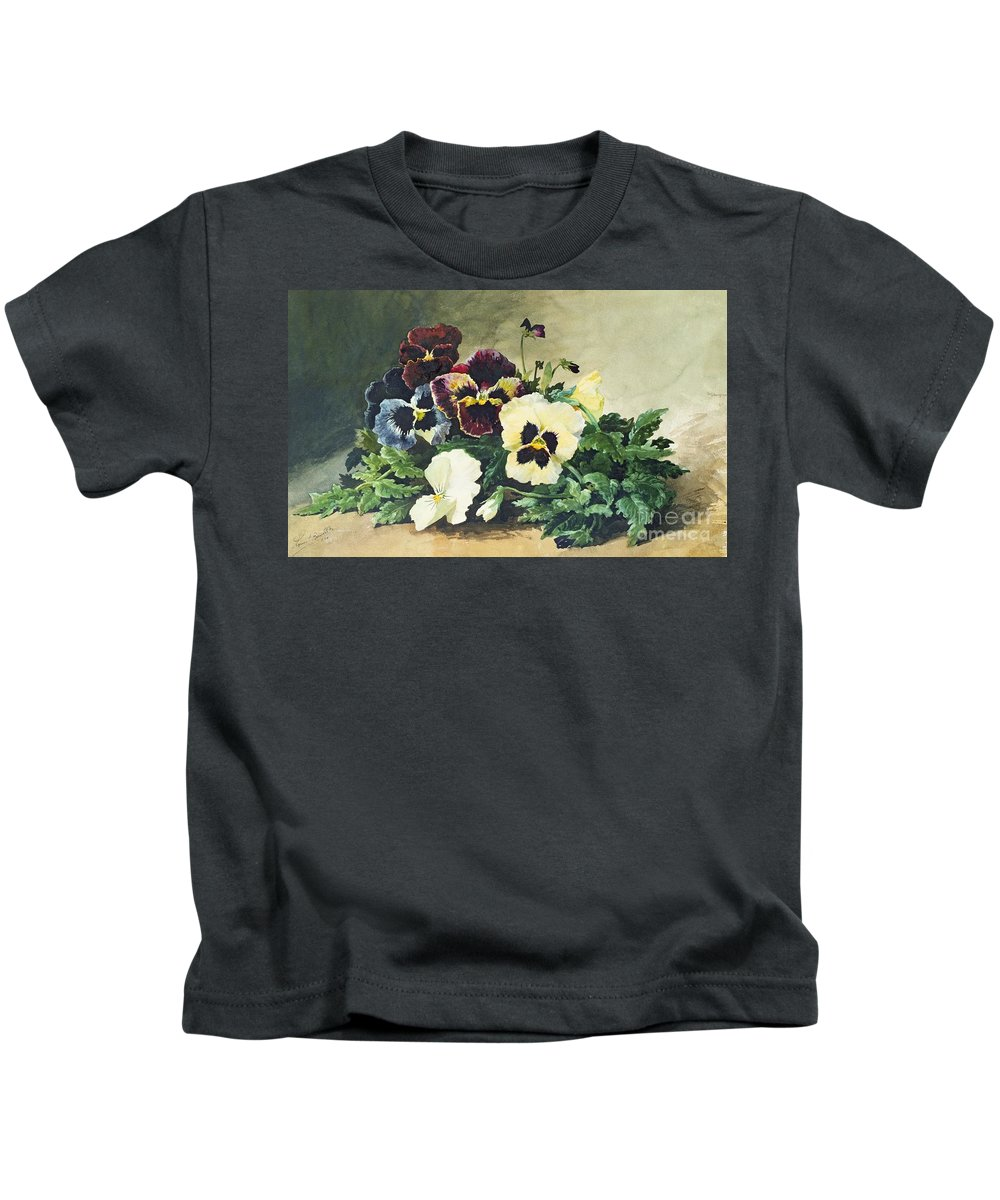 Winter Kids T-Shirt featuring the painting Winter Pansies by Louis Bombled