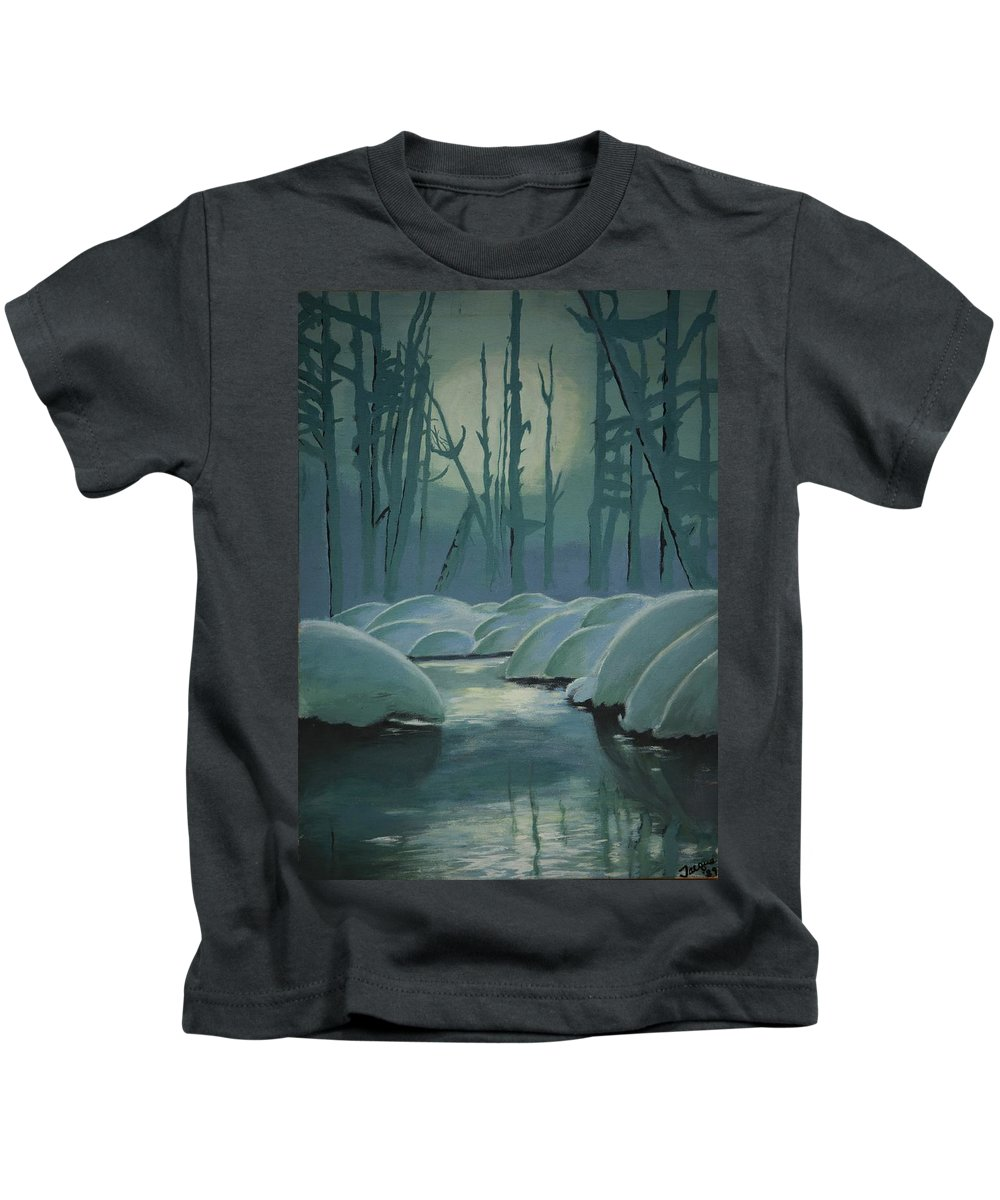 River Kids T-Shirt featuring the painting Winter Quiet by Jacqueline Athmann