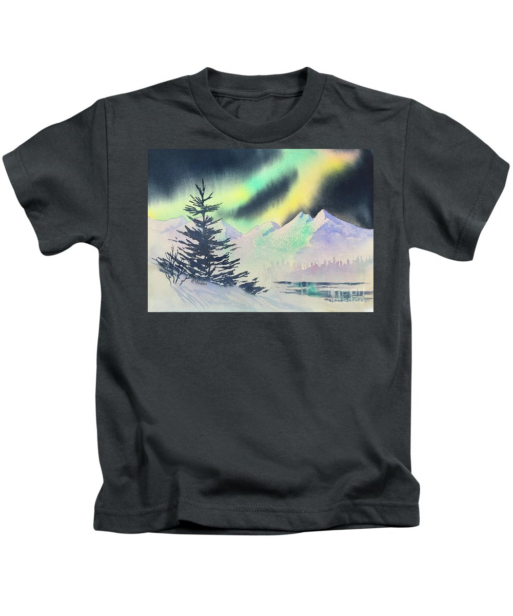 Winter Skylights Kids T-Shirt featuring the painting Winter Skylights by Teresa Ascone