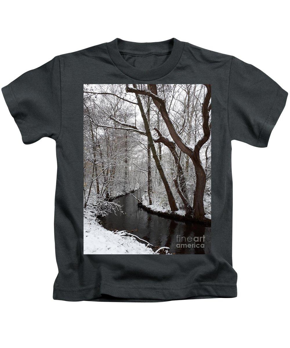 Winter Kids T-Shirt featuring the photograph Winter Walk In The Woods by Leonore VanScheidt