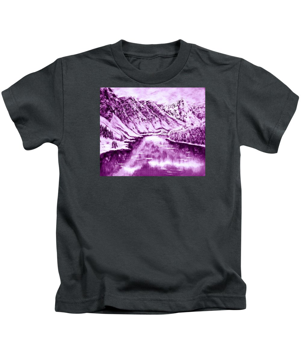 Amazing Winter Print Kids T-Shirt featuring the digital art Winter's Charm by Katreen Queen