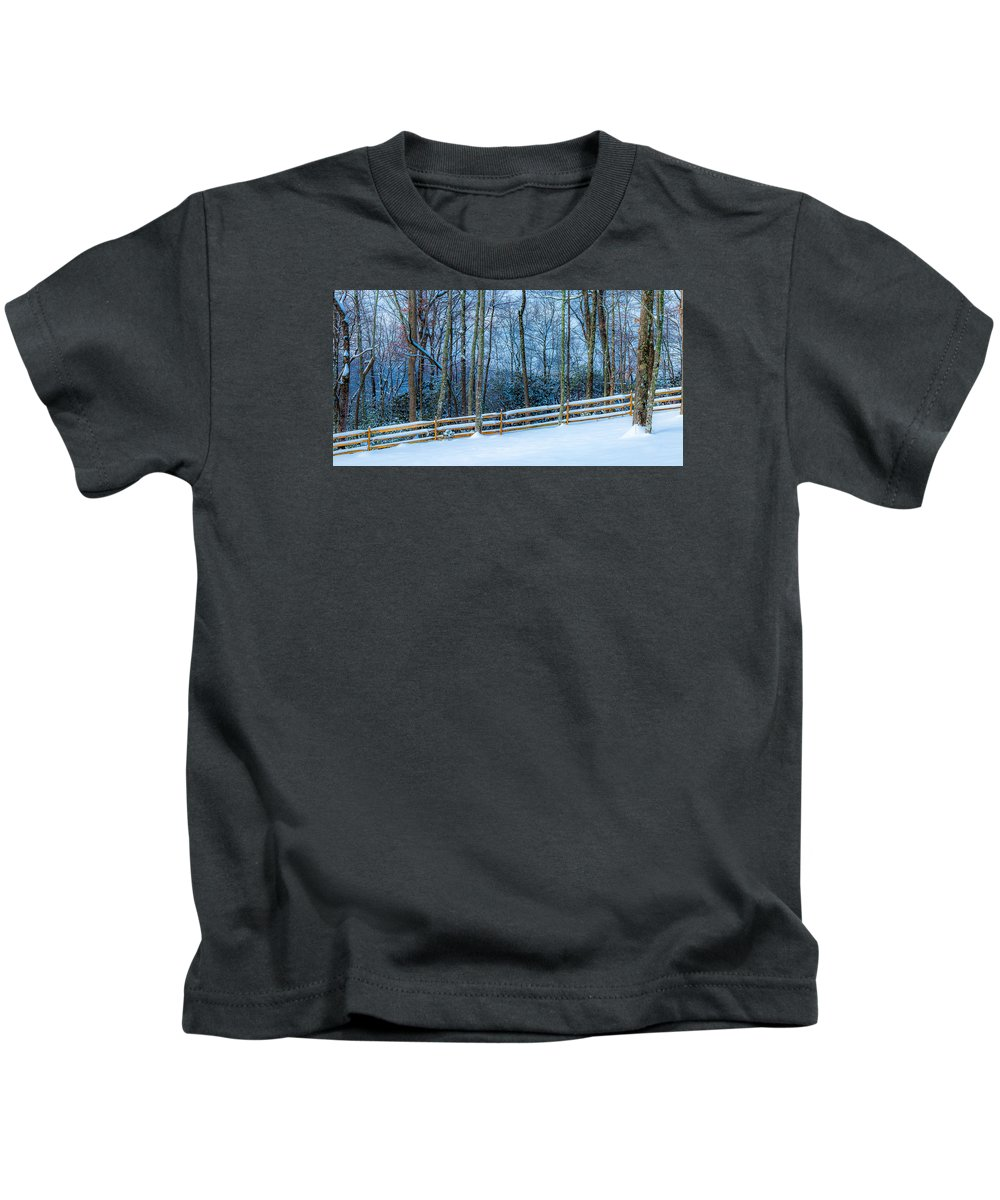 Pisgah Forest Kids T-Shirt featuring the photograph Winters Day - Pisgah Forest Nc by Donnie Whitaker