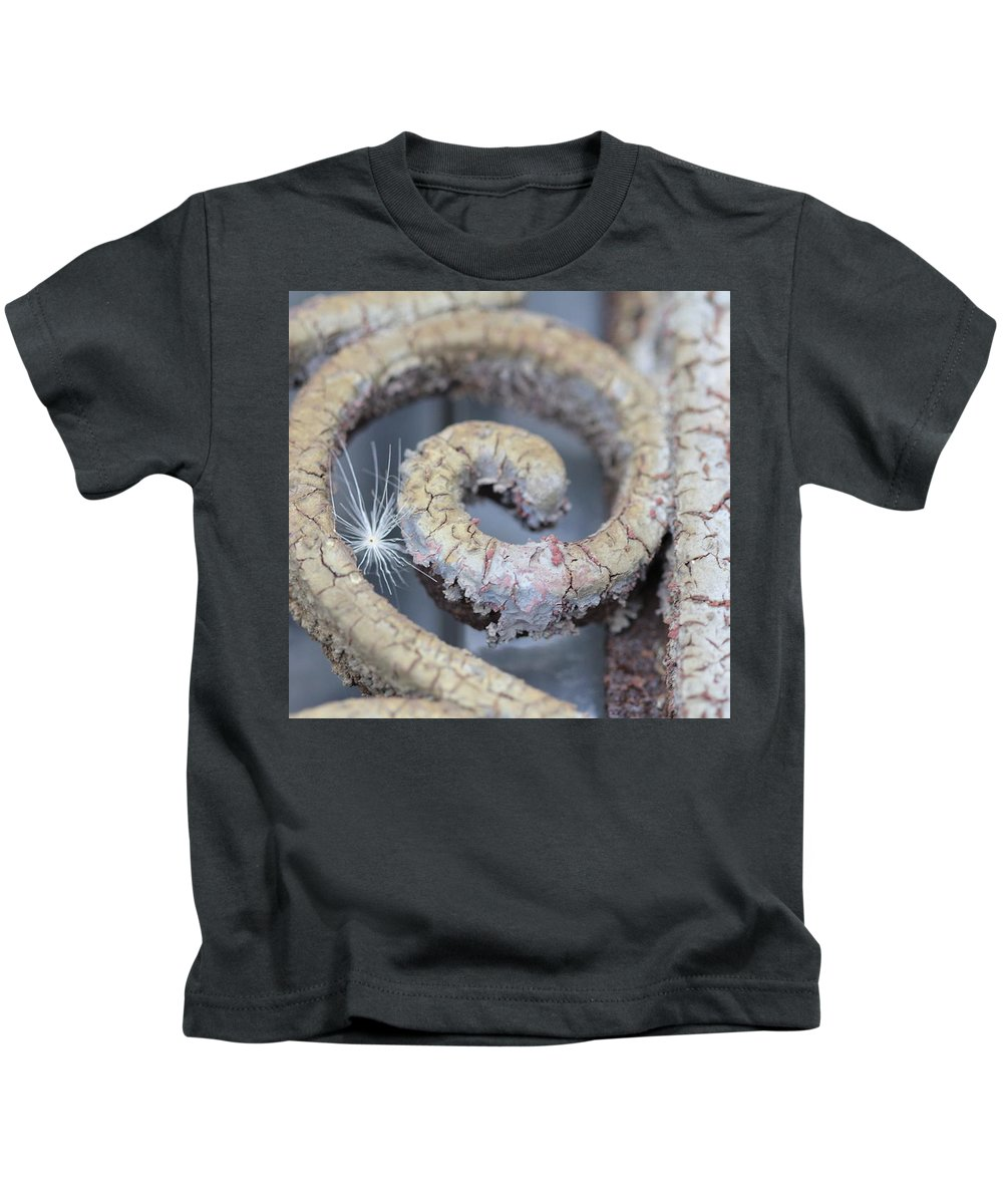 Thistle Seed In Mausoleum Door Kids T-Shirt featuring the mixed media Wish by Cynthia Conte