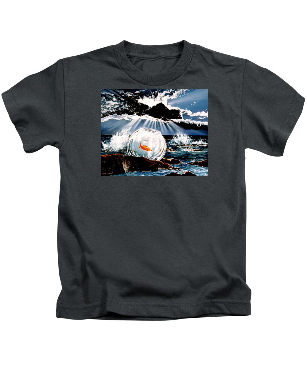 Surreal Kids T-Shirt featuring the painting Wish You Were Here by Mark Cawood