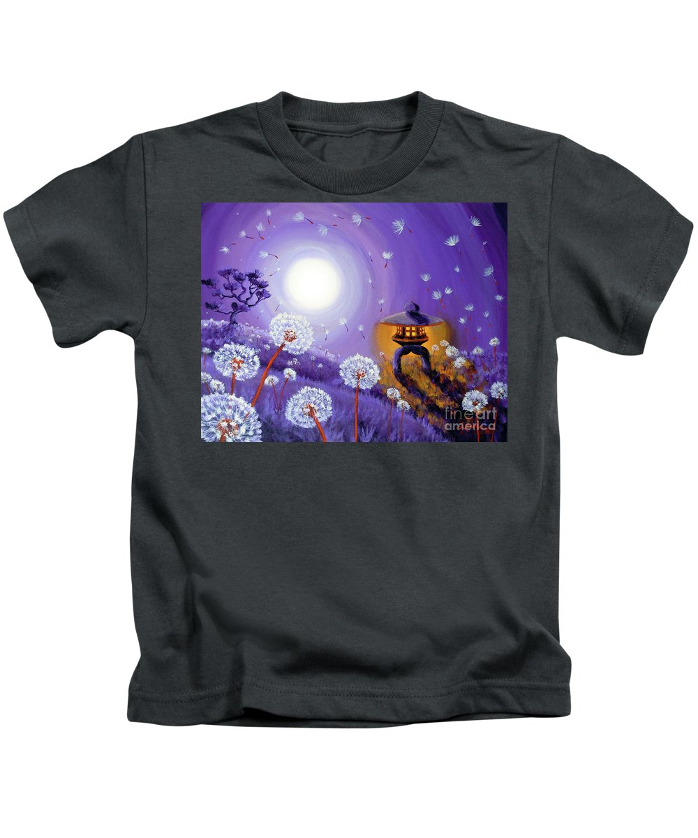 Zen Kids T-Shirt featuring the painting Wishes By A Stone Lantern by Laura Iverson