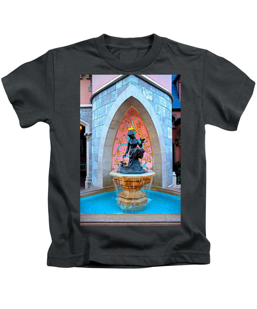 Kids T-Shirt featuring the photograph Wishing Pond Cinderella Disney World Magic Kingdom Castle by Lee Adams