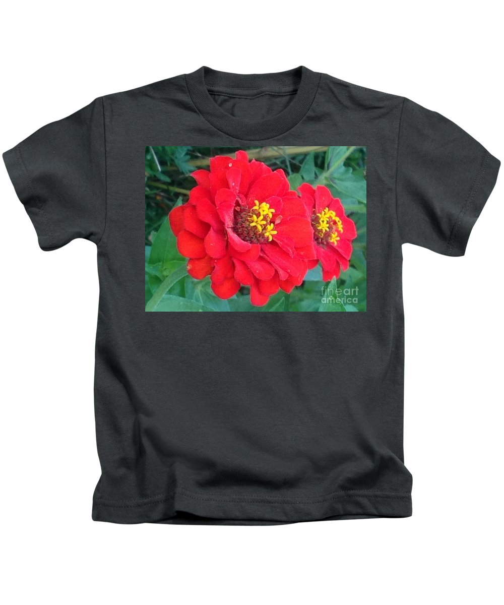 Flowers Kids T-Shirt featuring the photograph With Beauty As A Pure Red Rose by Debra Lynch