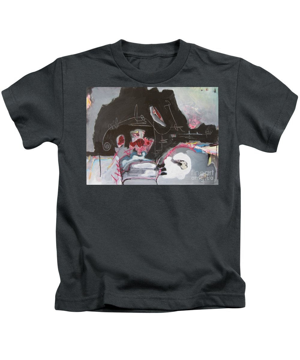 Abstract Paintings Kids T-Shirt featuring the painting With Little Escape From Life by Seon-Jeong Kim