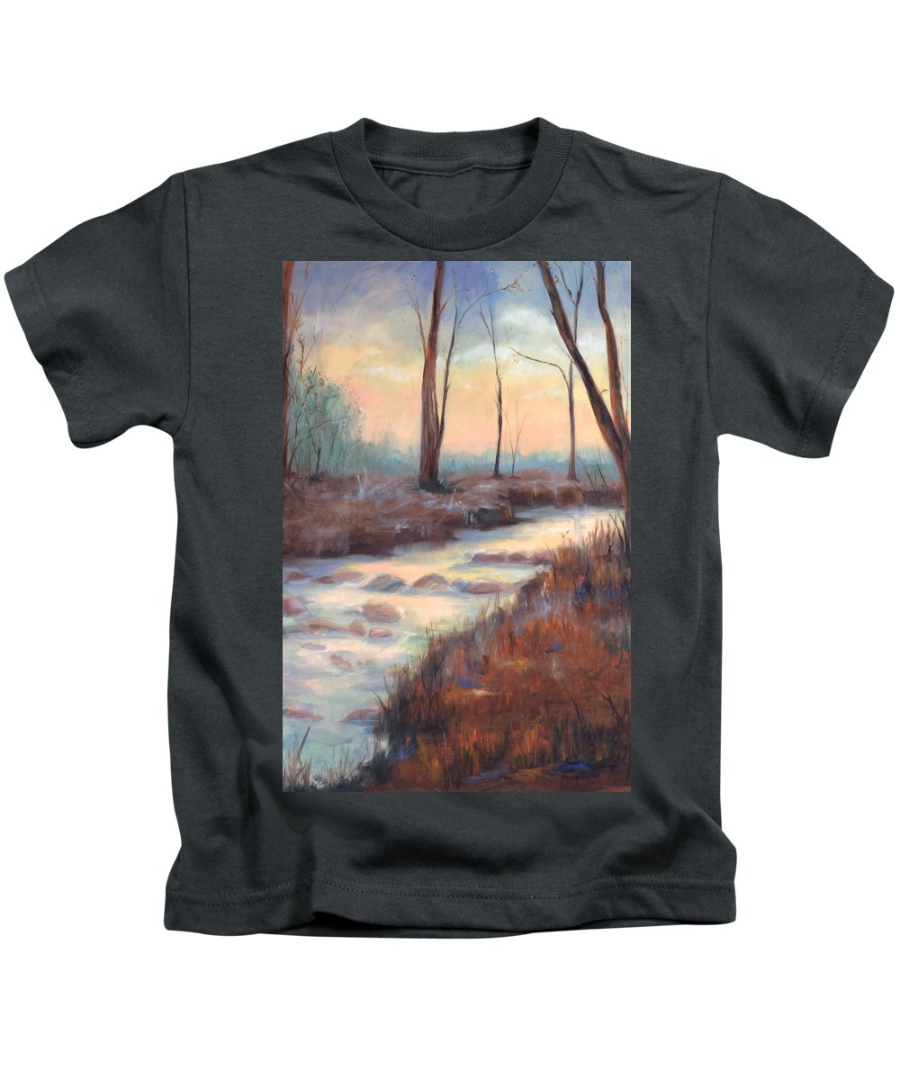 Creeks Kids T-Shirt featuring the painting Wolf Creek by Ginger Concepcion