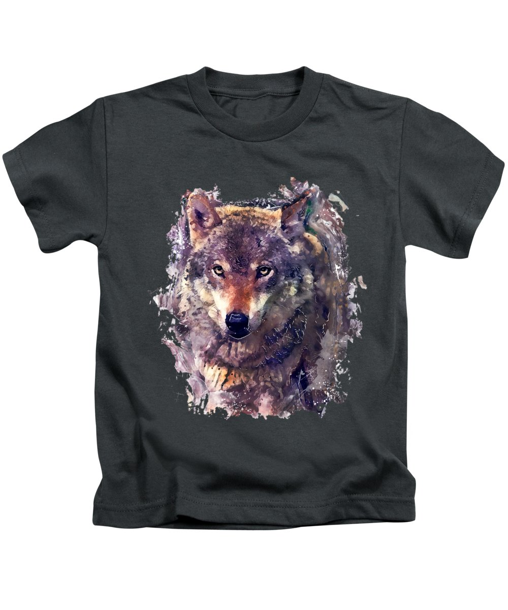Wolf Kids T-Shirt featuring the painting Wolf Watercolor Painting by Justyna Jaszke JBJart