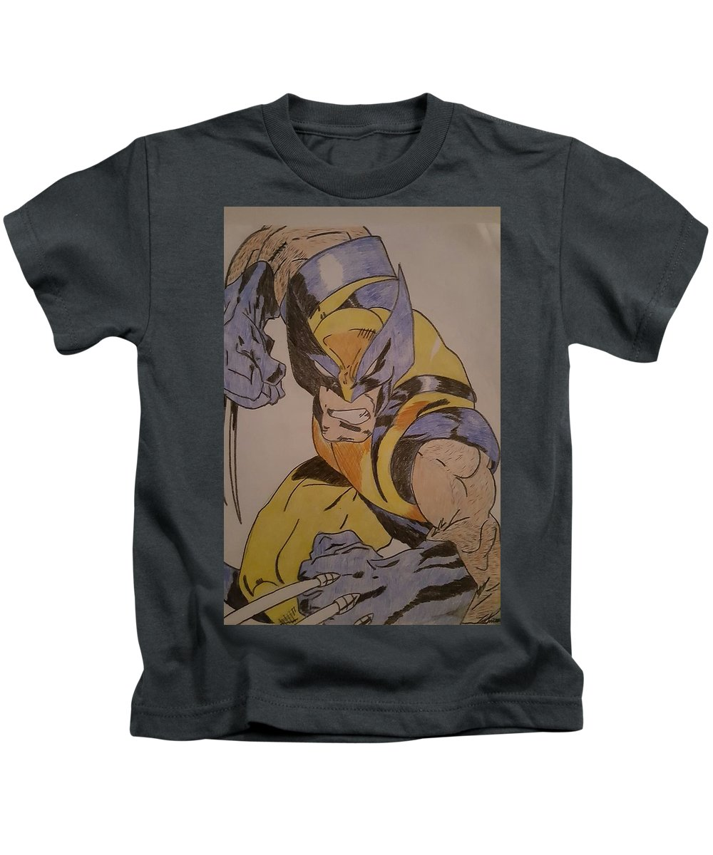 Wolverine Kids T-Shirt featuring the drawing Wolverine by Tim Smith
