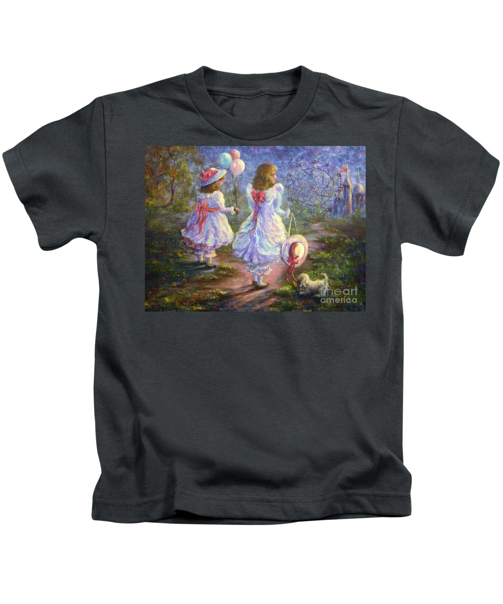 Original Oil Kids T-Shirt featuring the painting Wonderland by Sharon Abbott-Furze