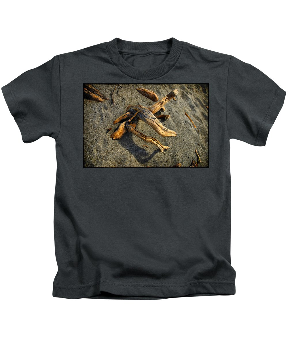 Wood Kids T-Shirt featuring the photograph Wood And Sand by Andrei SKY