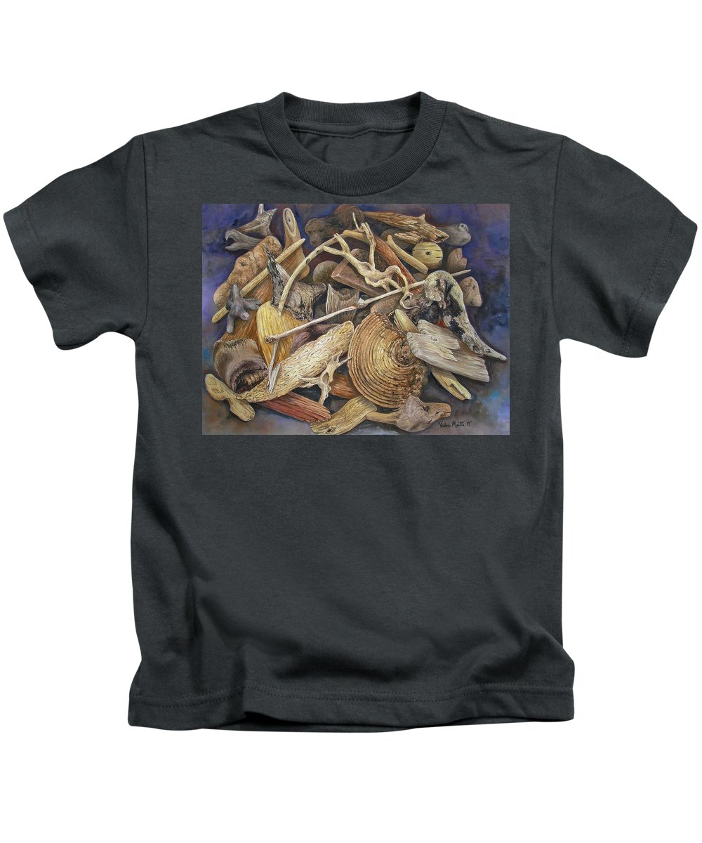Driftwood Kids T-Shirt featuring the painting Wood Creatures by Valerie Meotti