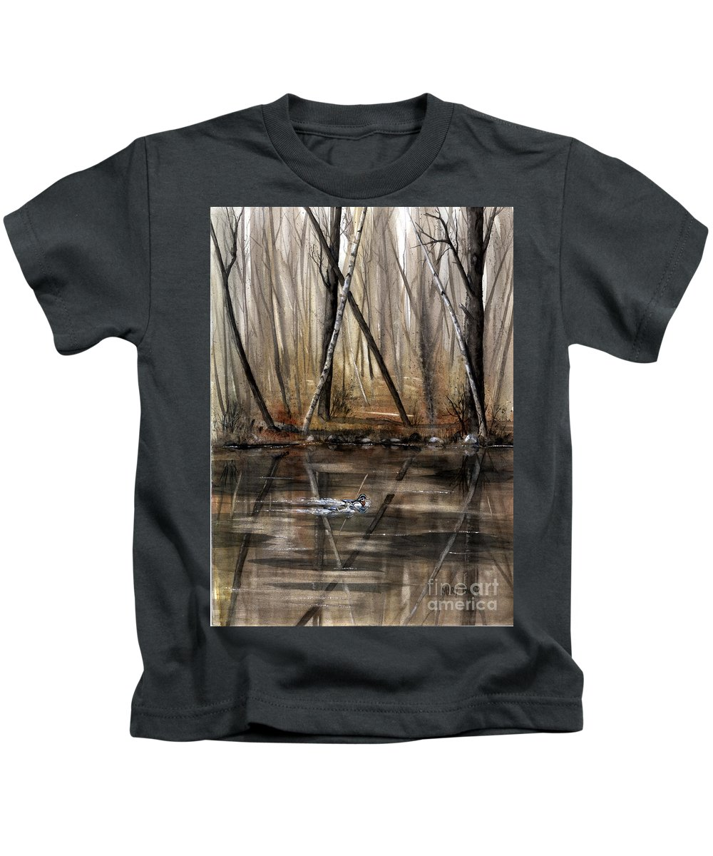 Nature Kids T-Shirt featuring the painting Wood Duck On Pond by Mary Tuomi