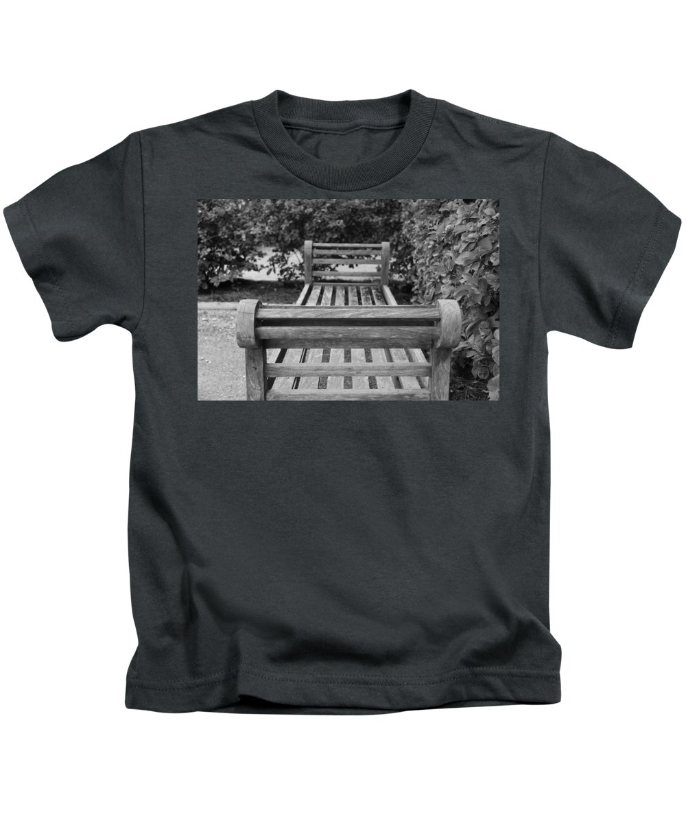 Bushes Kids T-Shirt featuring the photograph Wooden Bench by Rob Hans