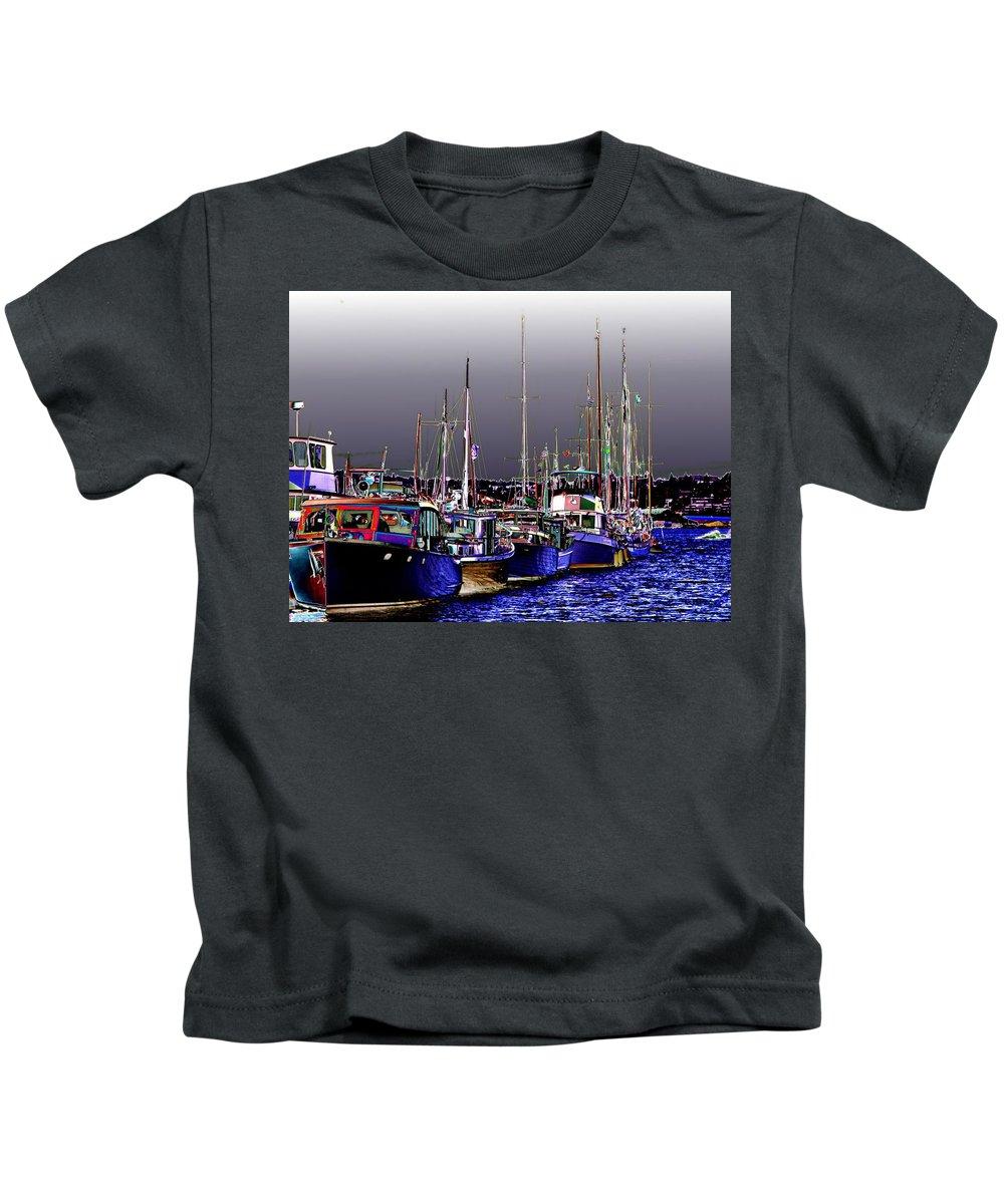 Seattle Kids T-Shirt featuring the digital art Wooden Boats 2 by Tim Allen