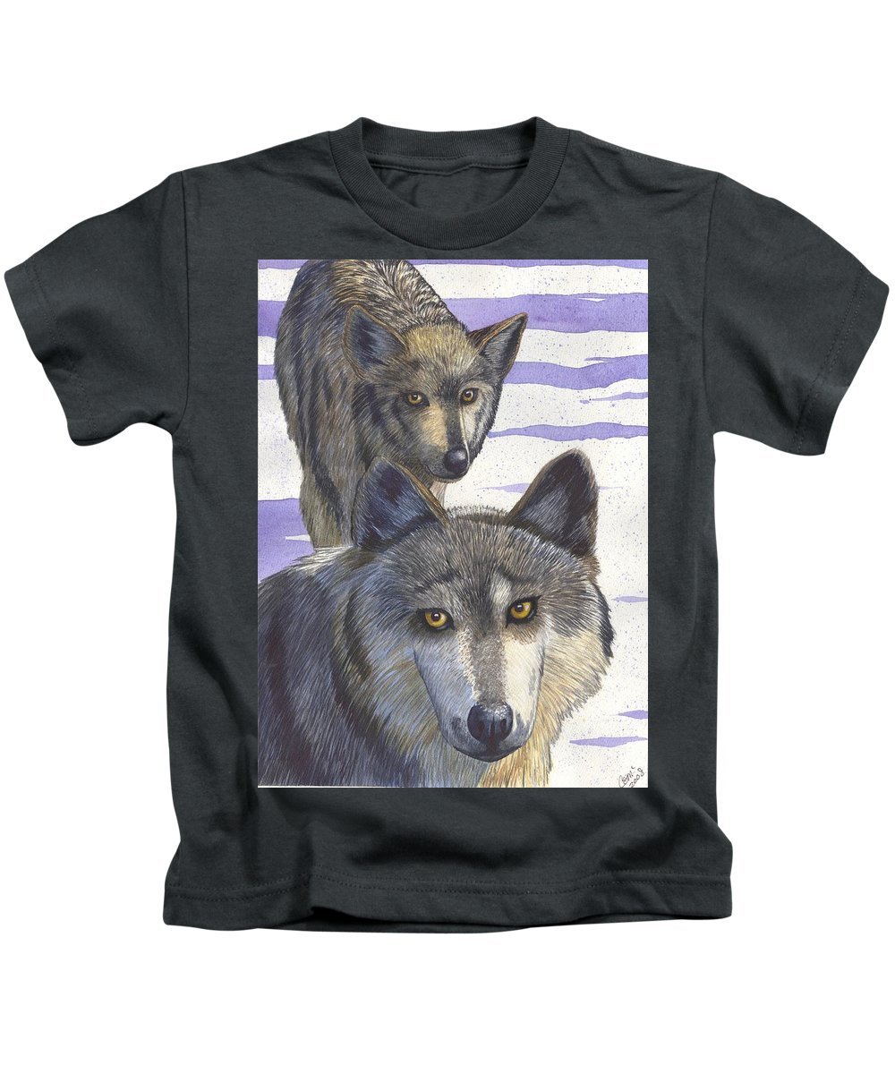 Wolf Kids T-Shirt featuring the painting Woofies by Catherine G McElroy