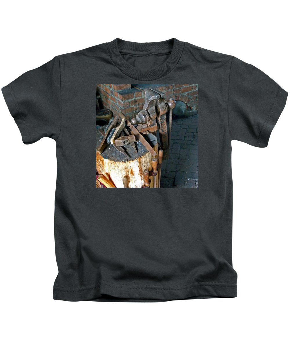 Tools Kids T-Shirt featuring the photograph Working Tool Bench by Skip Willits
