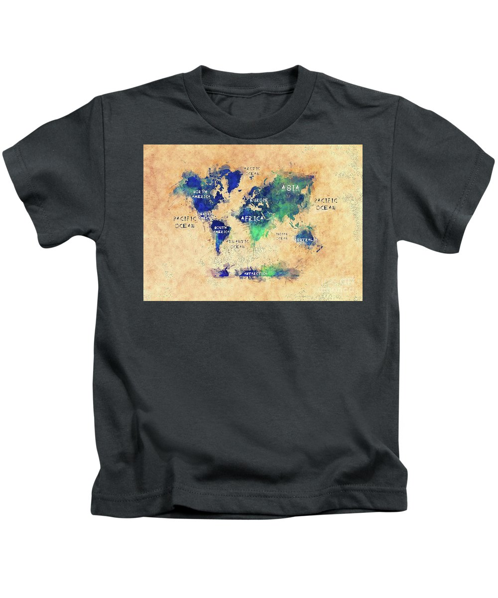 Map Of The World Kids T-Shirt featuring the digital art World Map Oceans And Continents Art by Justyna JBJart