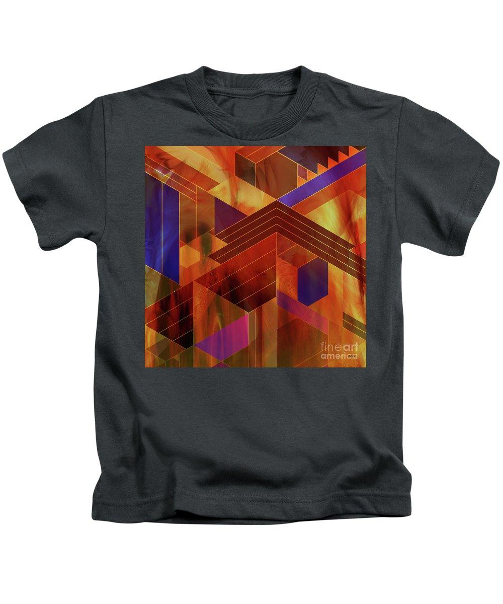 Frank Lloyd Wright Kids T-Shirt featuring the digital art Wrightian Reflections - Square Version by John Robert Beck