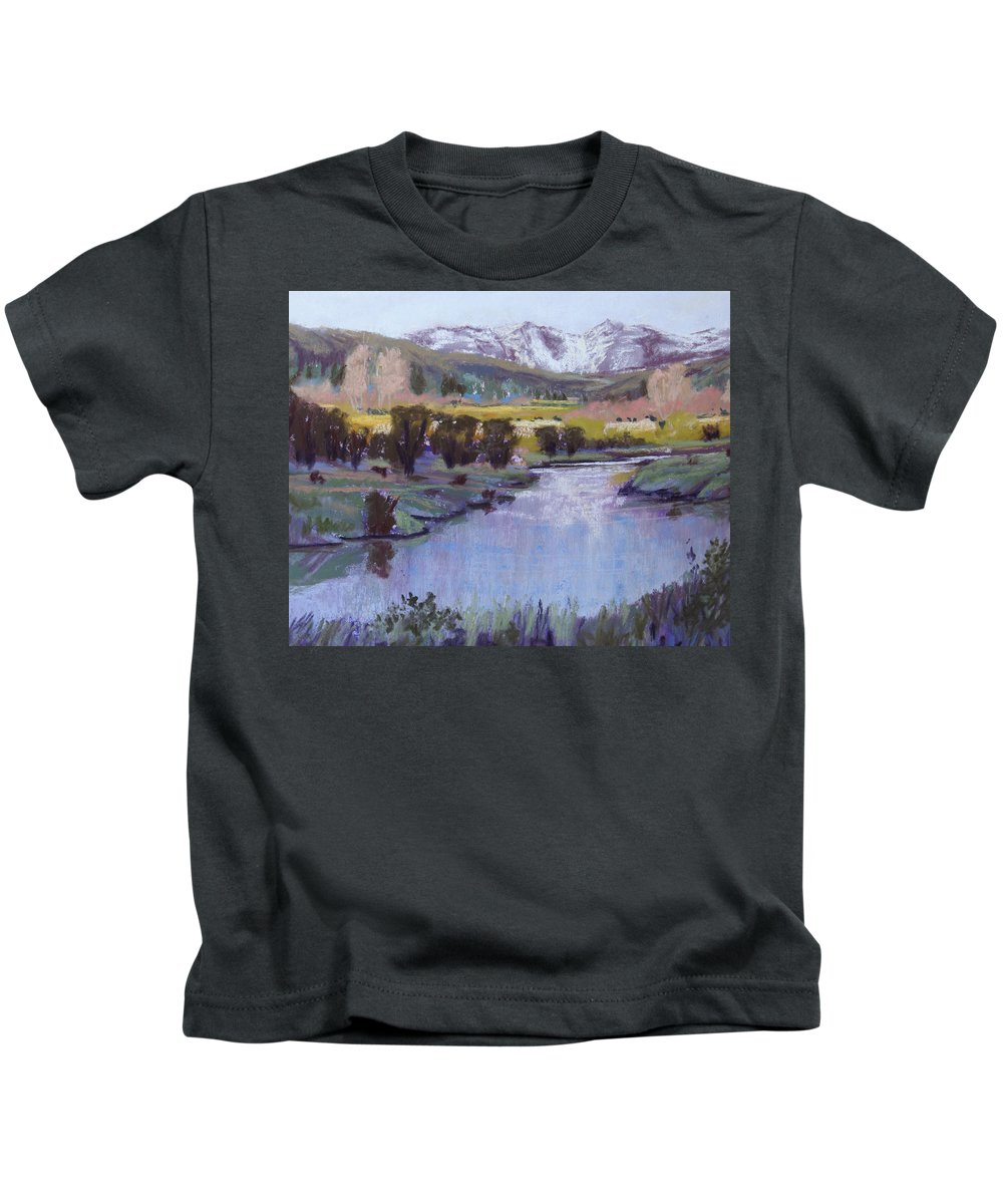 River Kids T-Shirt featuring the pastel Wyoming River by Heather Coen