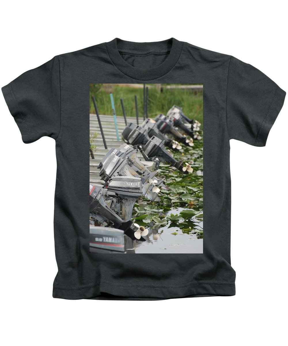 Boats Kids T-Shirt featuring the photograph Yamaha Outboards by Rob Hans