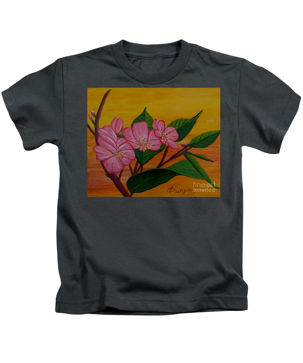 Yamazakura Kids T-Shirt featuring the painting Yamazakura Or Cherry Blossom by Anthony Dunphy