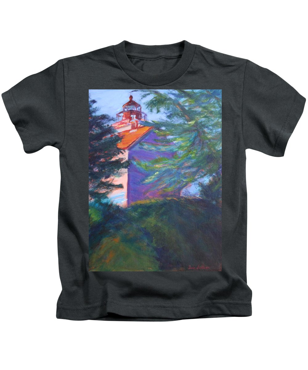 Quin Sweetman Kids T-Shirt featuring the painting Yaquina Bay Lighthouse by Quin Sweetman