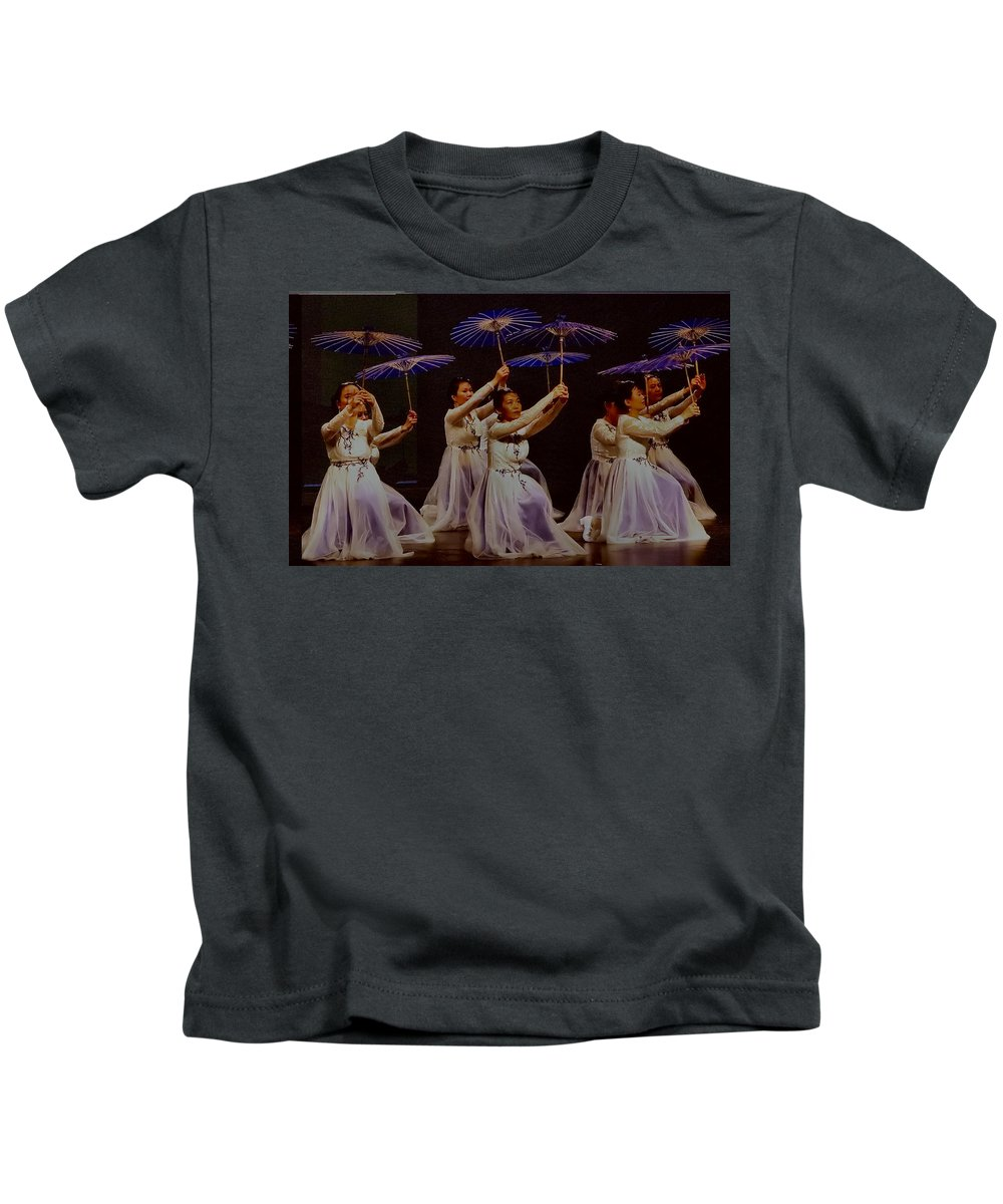 Camarillo Kids T-Shirt featuring the photograph Year Of The Dog Umbrella Dance by Michael Gordon