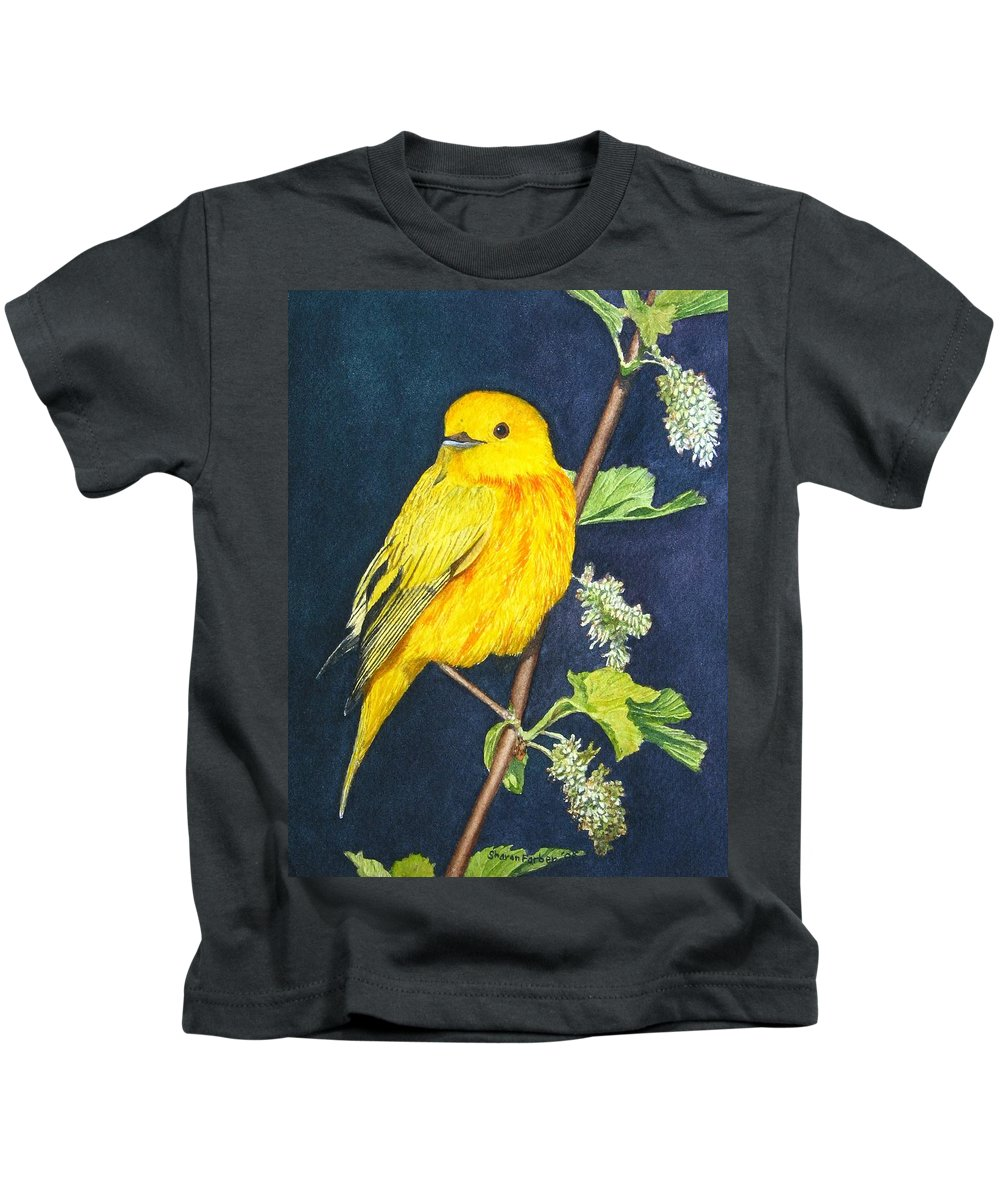 Bird Kids T-Shirt featuring the painting Yelllow Warbler by Sharon Farber