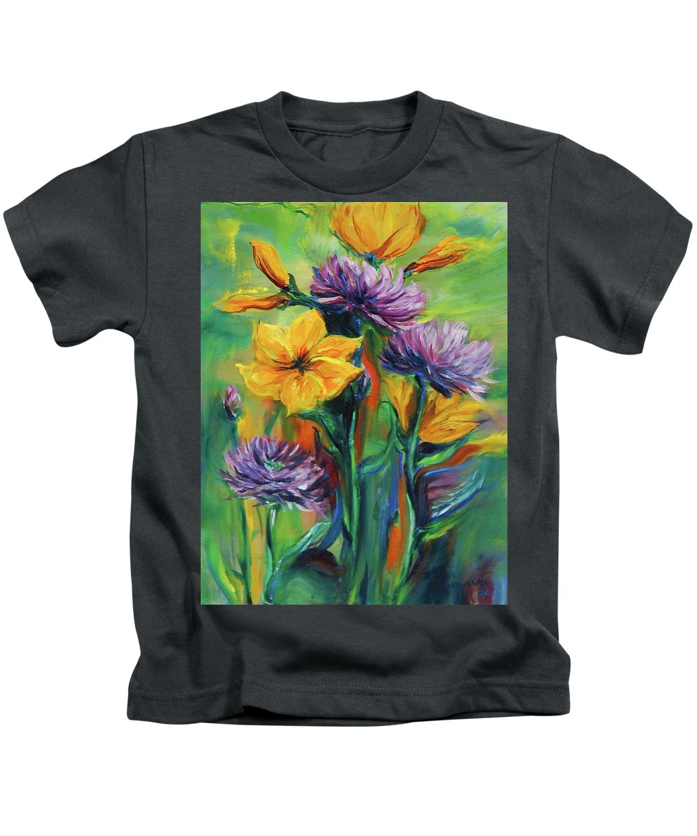 Flowers Kids T-Shirt featuring the painting Yellow And Purple Flowers by Jennifer Christenson