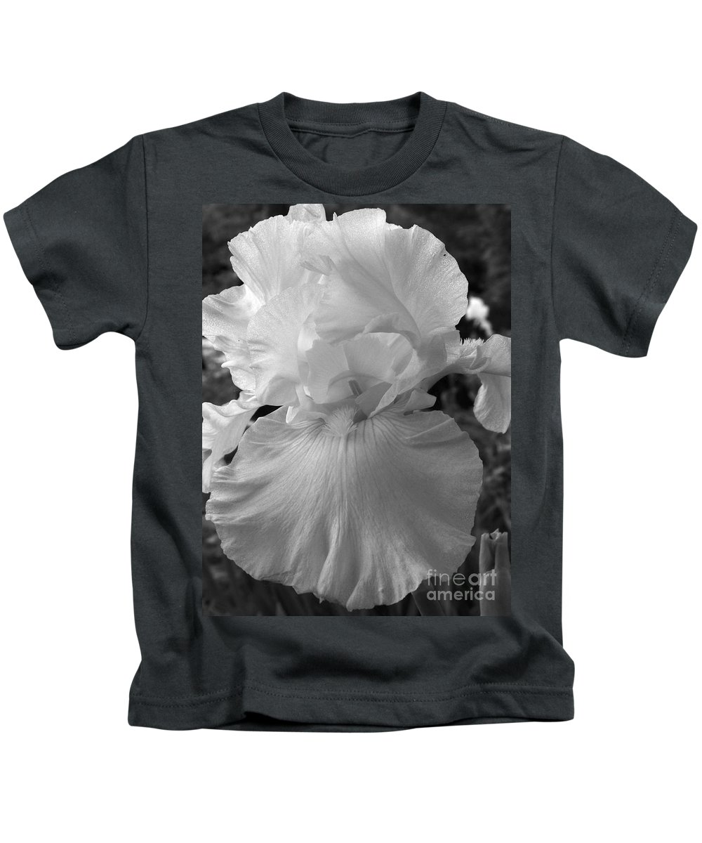 Iris Kids T-Shirt featuring the photograph Yellow And White Iris In Bw by Kathy McClure