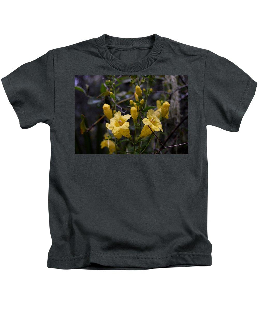 Yellow Jessamine With Raindrops Kids T-Shirt featuring the photograph Yellow Jessamine With Raindrops by Warren Thompson