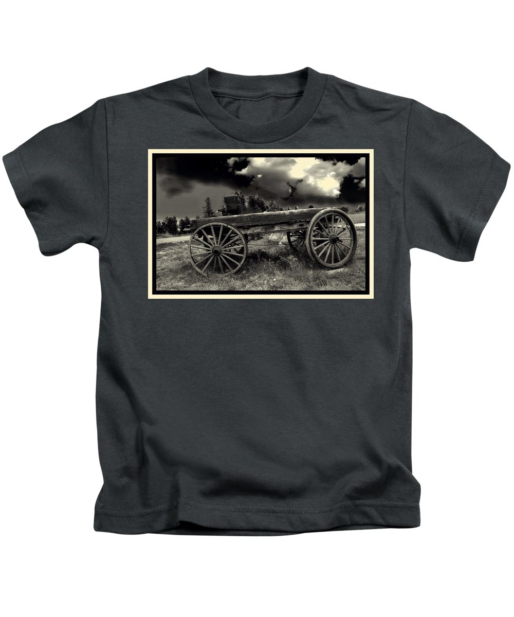 Black White Kids T-Shirt featuring the photograph Yesterday by Myrna Migala