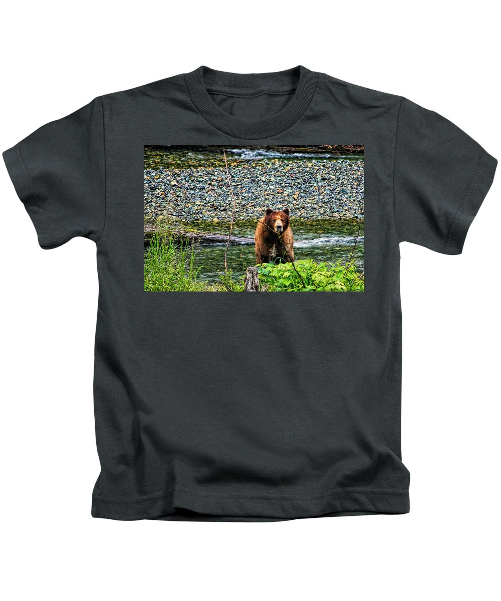Grizzly Kids T-Shirt featuring the photograph Yikes, It's A Grizzly by Kay Brewer