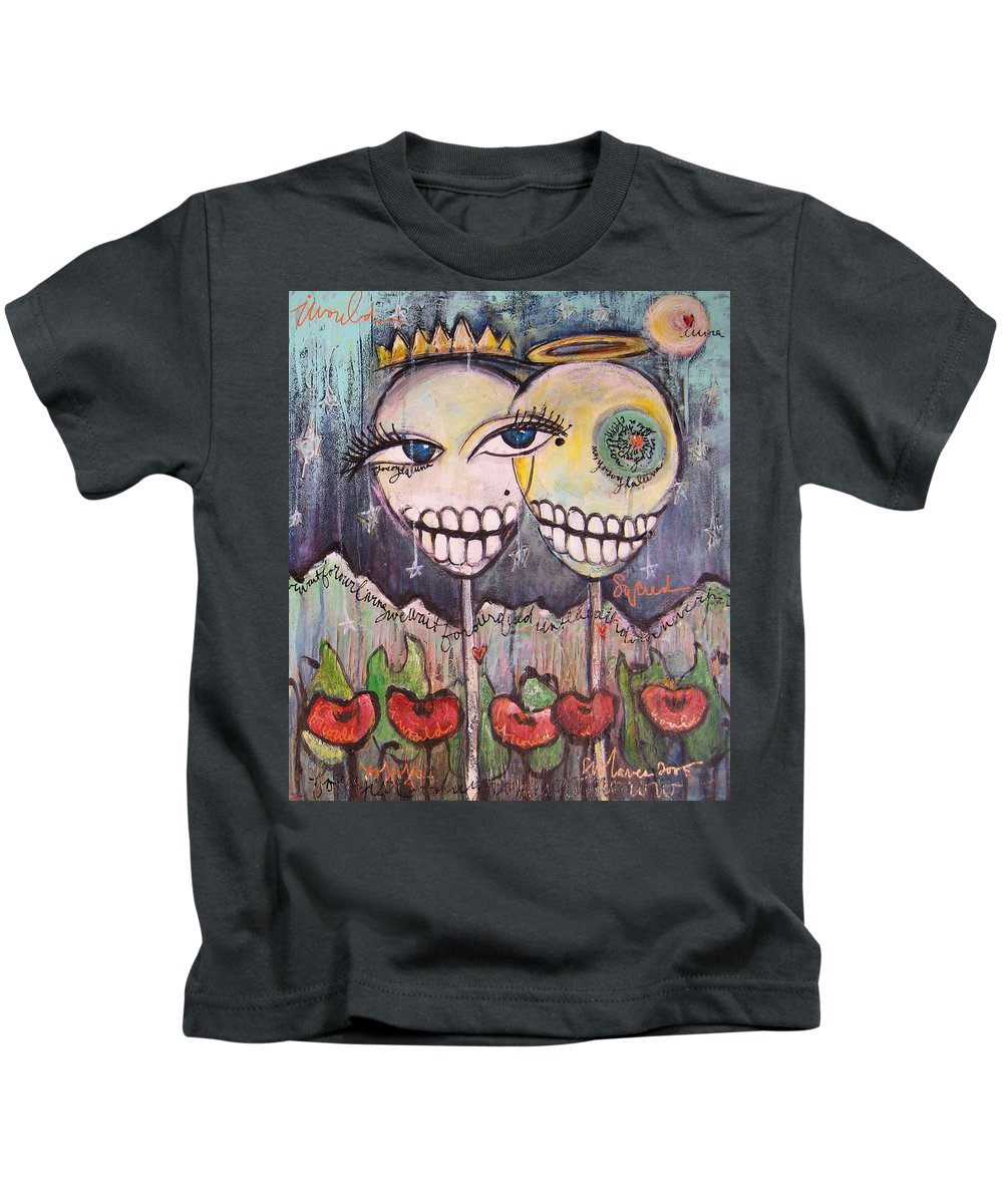 Skull Heads Kids T-Shirt featuring the painting Yo Soy La Luna by Laurie Maves ART