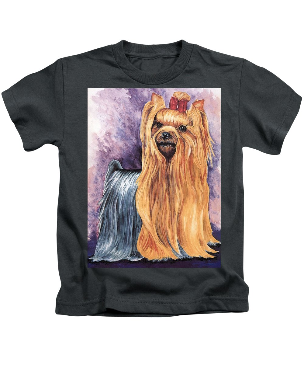 Yorkshire Terrier Kids T-Shirt featuring the painting Yorkshire Terrier by Kathleen Sepulveda