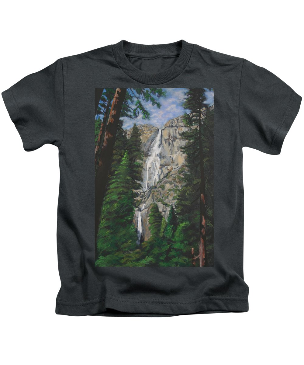 Landscape Kids T-Shirt featuring the painting Yosemite Falls by Travis Day