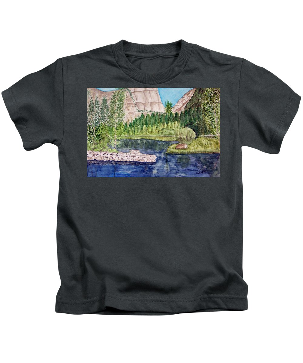 Yosemite National Park Kids T-Shirt featuring the painting Yosemite by Larry Wright