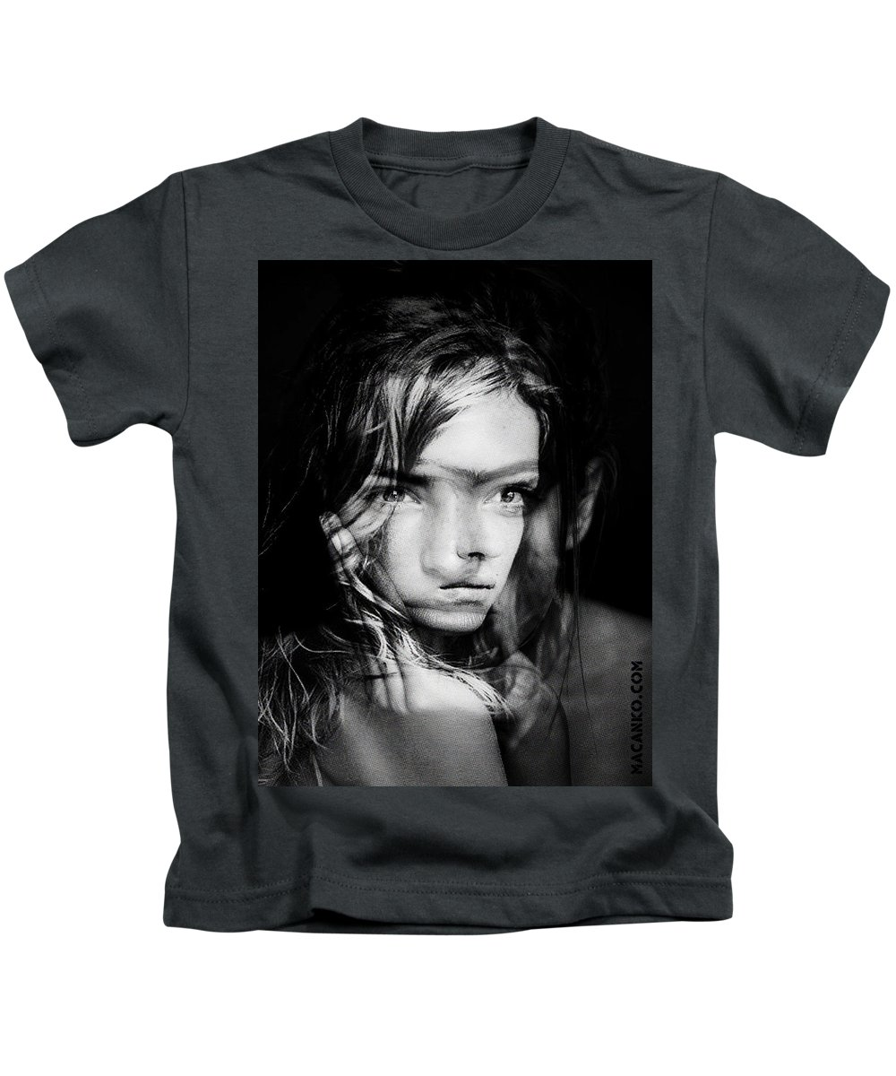 Kids T-Shirt featuring the painting You Always Were A Thinker Mary Lou. by Maciej Mackiewicz